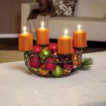 Deko-Korb mit 4 Kerzenhaltern
