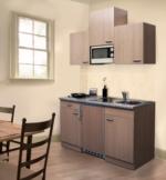 Respekta Küchenzeile 150 cm Buche Buche, mit Geräten, Edelstahlherdplatten, Mikrowelle