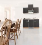 Respekta Küchenzeile 150 cm Buche Grau, mit Geräten, Glaskeramikkochfeld, Mikrowelle