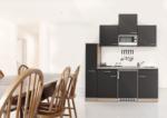 Respekta Küchenzeile 180 cm Buche Grau, mit Geräten, Edelstahlherdplatten, Mikrowelle