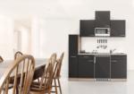 Respekta Küchenzeile 180 cm Buche Grau, mit Geräten, Glaskeramikkochfeld, Mikrowelle