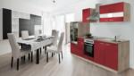 Respekta Küchenzeile 270 cm Eiche Sägerau Rot, mit Geräten, Glaskeramikkochfeld