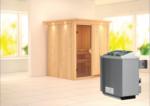 Karibu Sauna »Laurin« 68 mm, Ofen 9 kW integr. Strg. mit Kranz