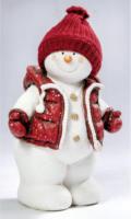 Schneemann mit Strickmütze, weiß/rot