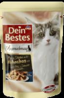 Augenschmaus Nassfutter für Katzen, zarte Stücke mit Hähnchen an Paprika-Sauce