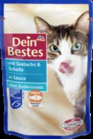 Nassfutter für Katzen mit Seelachs & Scholle, in Sauce