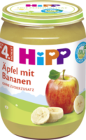 Früchte Äpfel mit Bananen nach dem 4. Monat