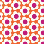 ROLLER Stoff, Dekostoff- orange-pink - Blumen - Meterware