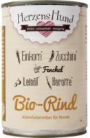 Nassfutter für Hunde, Bio Rind mit Bio Einkorn, Bio Zucchini, Bio Karotte, Bio Fenchel, Bio Leinöl
