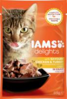 Nassfutter für Katzen Adult Delights, Huhn & Pute in Sauce
