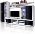 ROLLER Wohnwand CAN CAN 4 LUX - weiß-schwarz - Glasfronten
