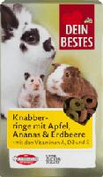 Snack für Nager & Zwergkaninchen, Knabber-Ringe mit Apfel, Ananas & Erdbeere