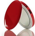 iLogoTech Power Compact Kosmetikspiegel PowerBank 3000mAh, Rot
