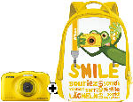 Digitalkameras - Nikon Coolpix W 100 + Rucksack Kompaktkamera Gelb, 13.2 Megapixel