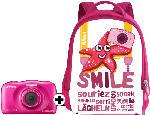Digitalkameras - Nikon Coolpix W 100 + Rucksack Kompaktkamera Pink, 13.2 Megapixel