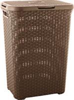 Curver Rattan-Wäschebox Style, dunkelbraun, 60 L
