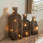 3er-Set Dekoflaschen mit Lichterkette