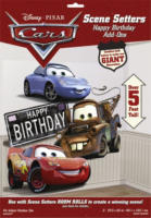 Diverse Hersteller - Disney Cars - Scene Setters Wanddekoration - Happy birthday - 85 x 165 cm