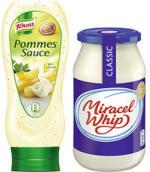 Miracel Whip 500 ml oder Knorr Pommes Sauce 475 ml, versch. Sorten, jedes Glas/jede Flasche