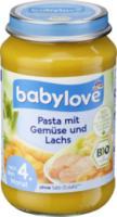 Menü Pasta mit Gemüse und Lachs nach dem 4. Monat