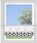 Scheibengardine Fussball, ca. 45 x 145cm, schwarz-weiss