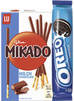 Oreo Classic, Double, Mikado oder Mikado King, versch. Sorten, jede 154/157-g-Rolle/75/51-g-Packung