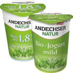 Andechser Natur Bio-Jogurt, mild, 0,1/1,8/3,8 % Fett, jeder 500-g-Becher