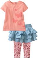 Baby-T-Shirt, Jeansrock und Leggings