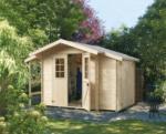 Gartenhaus Blockbohlen WESER 19 mm, 210x210 cm, mit Anbau und Schleppdach, mit Fußboden