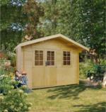 Gartenhaus Blockbohlen HELGOLAND 28 mm, 350x365 cm, mit Fußboden