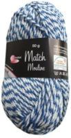 Wolle Match-Moulinè, petrol-weiss