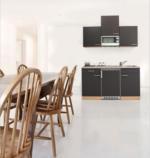 Respekta Küchenzeile 150 cm Buche Grau, mit Geräten, Edelstahlherdplatten, Mikrowelle