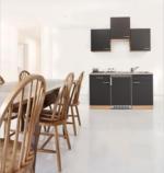 Respekta Küchenzeile 150 cm Buche Grau, mit Geräten, Edelstahlherdplatten