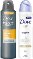 Dove Deo Spray oder Roll on versch. Sorten, jede 150/75-ml-Dose, jeder 50-ml-Roll on