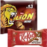 Kitkat, Lion, Smarties Minis oder Kitkat, Kitkat Chunky 5er, Lion- Nuts 6er Multipacks jede 217/234/180/168-g-Packung