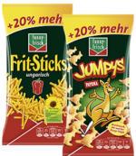 funny-frisch Frit-Sticks, ungarisch, Jumpys oder Ringli + 20 % mehr Inhalt, jeder 90/120-g-Beutel