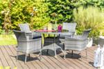 Haveson Gartenmöbel-Set Menorca inkl. Kissen, Tisch Ø 100 cm, grau meliert