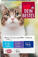 Dein Bestes Nassfutter für Katzen, Vorteilspack Beutel in Sauce mit Fisch, 12 x 100g