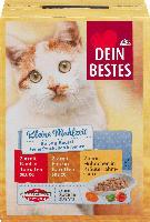 Dein Bestes Kleine Mahlzeit Nassfutter für Katzen, Beutel mit feinen Stückchen in Sauce, 6 x 50g