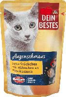 Dein Bestes Augenschmaus Nassfutter für Katzen, zarte Stücke mit Hähnchen an Paprika-Sauce