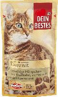 Dein Bestes Exquisit Snack für Katzen, fleischige Häppchen mit Truthahn, verfeinert mit Leberwurst