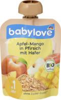 Quetschbeutel Apfel-Mango in Pfirsich mit Hafer ab 1 Jahr