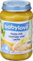 babylove Menü Pasta mit Gemüse und Lachs nach dem 4. Monat