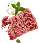 Frisches Hackfleisch gemischt aus Schweine- und Rindfleisch,  je 100 g