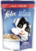 Felix Nassfutter für Katzen, So gut wie es aussieht, Rind in Gelee