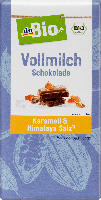 dmBio Vollmilch Schokolade Karamell & Himalayasalz