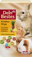 Dein Bestes Knabber-Ringe mit Apfel, Ananas & Erdbeere, für Nager & Zwergkaninchen