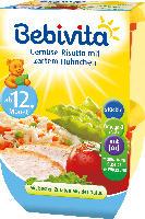 Bebivita Kindermenü Gemüse-Risotto mit zartem Hühnchen ab 12. Monat, 2x250g