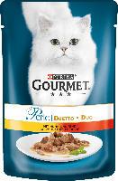 GOURMET Nassfutter für Katzen, Perle Duetto di Carne mit Huhn und Rind