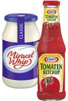 Miracel Whip oder Kraft Ketchup versch. Sorten, jedes 500-ml-Glas / jede 500-ml-Flasche